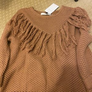 Brown tassel sweater